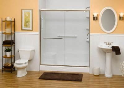 zz white shower and wainscotting